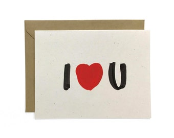 NEW | Hand Lettered I Love You Card, Recycled Card