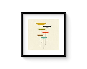 FLOAT - Square Version - Giclee Print - Mid Century Modern Danish Modern Minimalist Cubist Modernist Abstract Eames