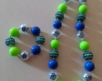 Seahawks chunky bead necklace and bracelet set