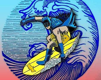 Surfing Batman Pin | Justice League Soft Enamel Pin Punk Enamel Pin Joker Harley Quinn Catwoman Backpack Enamel Pin Surfs Up