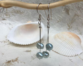 PEARL earrings, made of silver and natural blue pearl