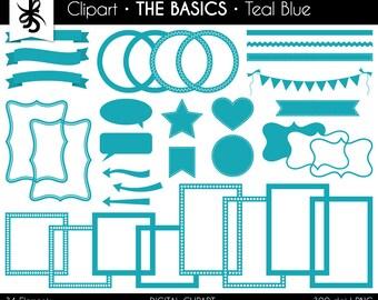 Digital Clipart-The Basics-Teal Blue-Light Blue-Digital Elements-Frames-Arrows-Flags-Banners-Labels-Ribbon-Border-Instant Download Clip Art