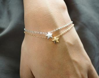 Tiny Star Bracelet, Thin Gold Bracelet, Mothers Day, Silver Bracelet, Sister, Delicate Bracelet, Minimalist Jewelry, Best Friend, Wedding