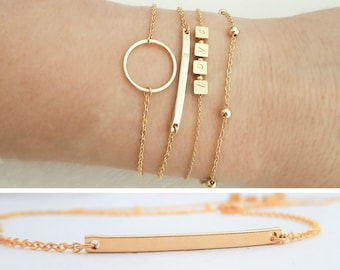 Skinny Bar Bracelet Gold / Thin Dash Charm Bracelet / Dainty Layering Bracelet / Minimalistic Jewelry / Simple Gold Bangle / Minimal /  B404