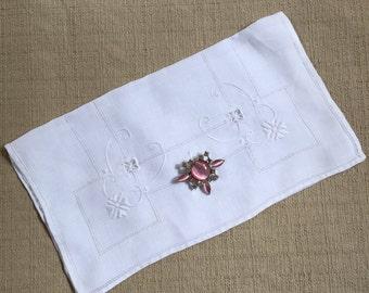 Handmade Boudoir or Keepsake Bag Made from Vintage Linen