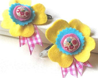 Yellow Hair Flower Clips, Yellow Barrette, Yellow Hair Clips for Girls, Felt Flower Hair Clips, Girls Party Favour, Pink Gingham Barrette