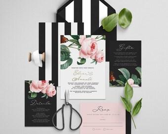 "Gold Foil Invitation Printable Wedding Invitation Suite ""Stardust Foil"" - Printable DIY Invite, Affordable Wedding Invitation"