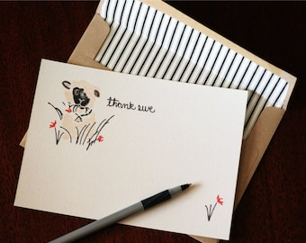 """Thank You Note Cards and Matching Lined Envelopes; 5"""" x 7"""" featuring hand drawn artwork -  set of 4"""