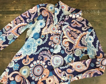 1970s Blue Paisley Synthetic Blouse