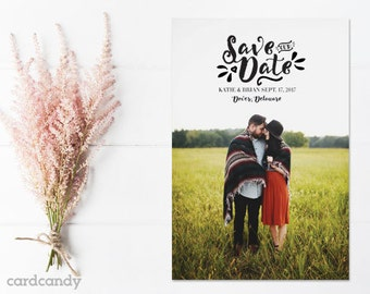 Save-The-Date-Magnet-Rustic, Save The Date Postcard - Petals