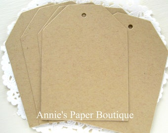 Kraft Tags - 25 Large Tag-Its - Hang Tags - Parcel, Gift, Cardstock, Blank Tags, Shipping, Inventory, Package, Treats, Favors, Showers