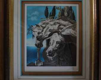 """Vintage serigraph, limited edition, surrialism, signed and numbered, """"Dali""""."""