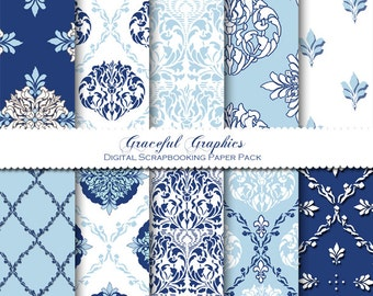Scrapbook Paper Pack Digital Scrapbooking Background Papers Pack CLASSIC Crisp Blue and White 10 Sheets 8.5 x 11 1241gg