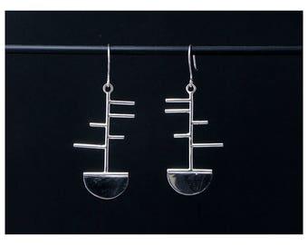 Sterling Silver geometric earring