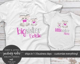 sibling set of sister shirts | big sister little sister | lamb matching sibling shirts | little lamb sister shirts  mlcp-001