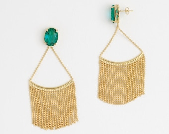 Dangle Earrings, Shiny Gold Plating Earrings, Green Zircon Gemstone, Green Earrings - My Jewelry Spot