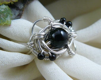 Black Bead Ring ~ Black Onyx Ring ~ Wire Wrapped Ring ~ Wire Wrap Ring ~ Wire Wrap Bead Ring ~ Bead Ring ~ Onyx Bead Ring ~ Size 6 Ring
