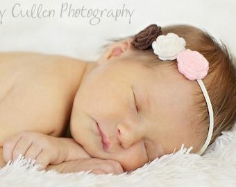 Small Flower Headband for Baby - Pink, Ivory, Brown Headband (Neapolitan trio) Newborn infant toddler tween teen adult