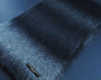 "Katharine Hamnett Scarf London Striped Pattern Hairy Style Acrylic Scarf Muffler 75"" X 11"""