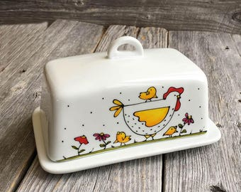 Butter Dish Porcelain Chicken hand painted by artist Isabelle Malo