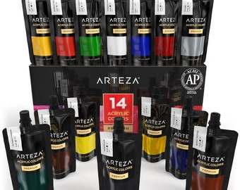 Arteza Acrylic Paint Set, 14 Colors / Tubes (4.06 oz.) with Storage Box, Rich, Pigments, Non Fading, Non Toxic for the Professional Artist