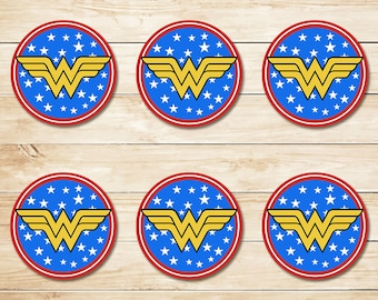 Wonder Woman Party Circles printable Wonder Woman Cupcake