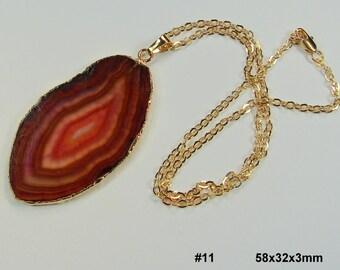 VERKAUF. Natürlicher Achat Scheibe Halskette 24K gold plated Kanten mit 24K Gold geflochtene Kette mit Druzy Stein, Geode Halskette (Lot 031)