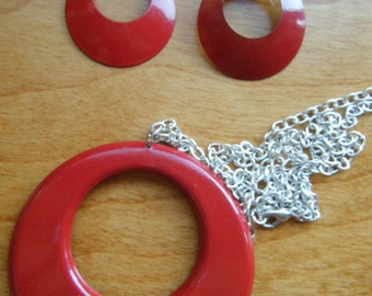 1980's Red Metal Necklace and Matching Earrings , Red Hot Metal