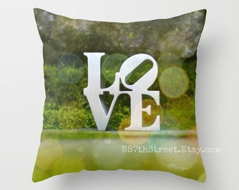 "LOVE ORBS 16x16"" Pillow Cover. Photo Art by TMCdesigns. Romantic. Woodland. Moss, Green. Stone. Farmhouse. Wedding. Anniversary. Happy."