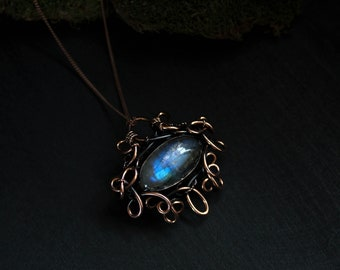 Wife statement gift Wire wrapped jewelry Copper necklace for girlfriend Blue labradorite pendant Thank you gift for friend birthday gift