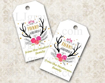 Personalized Christmas Tags, Christmas Antlers, Gift Tags Party Favor Treat Bag Tag Handmade TC014