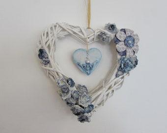 White abd Blue Heart Wreath