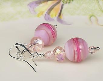 Pink Earrings Beadwork Earrings Lampwork Earrings Glass Earrings Glass Bead Earrings Glass Art Earrings Lampwork Jewelry