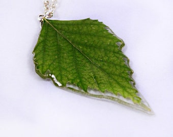 green leaf necklace terrarium jewelry green handmade necklace rustic pendant gifts mom floral necklace birch jewelry gift/for/her PЮ73