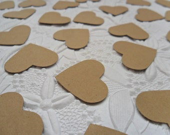 50 Kraft Heart Confetti-1 Inch-Scrapbooking-Gift Wrapping-Embellishments-Wedding-Party-Cards-Die cuts-Punches