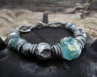 SALE!!! SALE!!! Ancient Roman Glass bracelet, statement, Roman glass, raw silver bracelet, rough, handmade jewerly