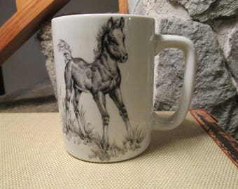 Ortagiri Pencil Sketch Colt Foal Horse Mug Cup - Gibson Greetings Cards Inc