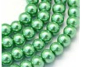Glass Pearl Beads - 42 pc - 8mm - Medium Sea Green Pearls - Green Beads - Green Pearls - Round - Dyed  - 8mm Green Pearls