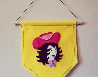 Cowgirl hand stitched pennant