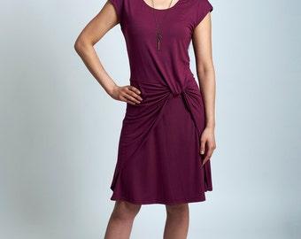 Ida dress - short sleeve jersey dress with draped front