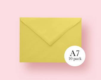 5x7 Yellow Envelopes | A7 Yellow Envelopes | Set of 10