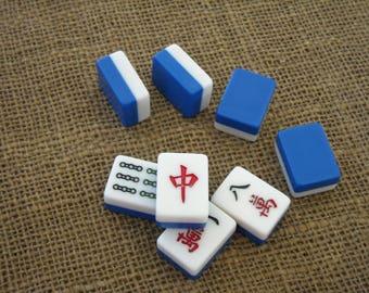 Mahjong Tiles for Crafts - Mahjongg Supplies - Free Shipping - Blue and White Mahjong Tiles - Mahjong Crafts