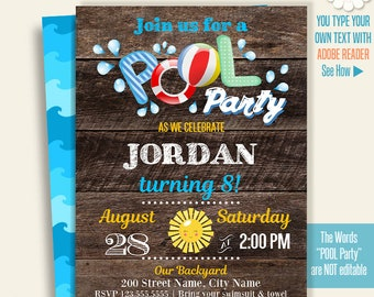 Pool party invitation, Printable pool party invitation, Instant Download Self Editable PDF A128-A274