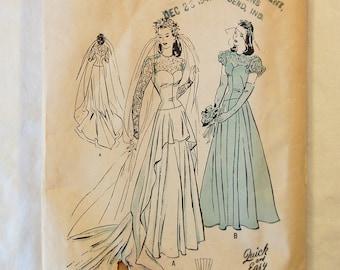 CLEARANCE / Rare Vintage 1940s Butterick 4420 Wedding Dress Pattern / Size 14 / Bust 32 / Petite