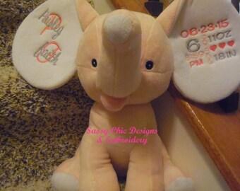 Elephant/Personalized Cubbie/Birth Announcement Cubbie/Pink Elephant/Personalized Stuffed Animal/Blue Elephant/Birth Announcement