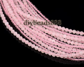 Crystal Quart,15 inch full strand natural Rose Quartz smooth round beads 2mm 3mm for choose