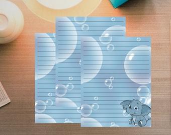 Elephant Printable Paper - Writing Paper - DIY Stationary - Printable Stationery - Personalized Stationary - Print Paper - Animal Stationery