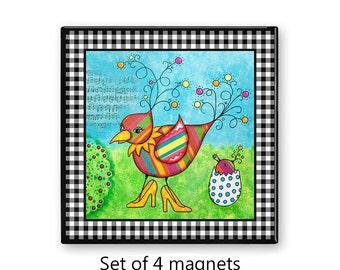 Mother Bird fridge magnets, colorful magnet set , refrigerator magnets, set of 4 decorative magnets, colorful kitchen decor, art magnets