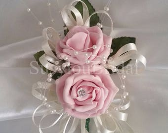Luxury Pin On Wedding Bridal Corsage Light Vintage Pink Or Peach With A Diamante In Artificial Roses With Ivory Pearls And Ribbons