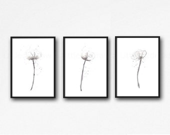 White Poppy Flower Print Set Of 3 Watercolor Painting Print Floral Gray Black White Flower White Poppies Home Decor Wall Decor Wall Art